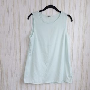 Olive & Oak Mint Laser Cut-out Button Back Tank